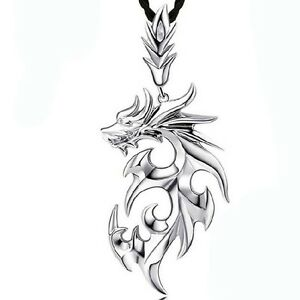 fashion-mens-silver-dragon-shape-pendant-necklace-jewelry-with-Leather-Chain