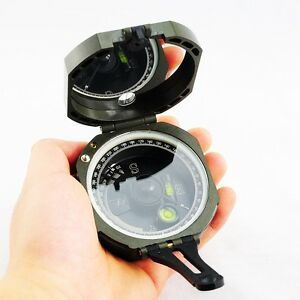 Army Green Pocket Transit Plastic Compass For Hiking Surveyors Foresters