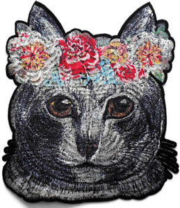 Dog Frida Kahlo Style Flowers Embroidered Iron On patch Applique Daisy Crown