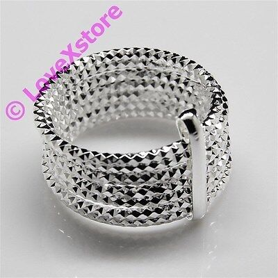 925 Sterling .925 Silver Plated Spark Spring W/Clip Ring Size 7 8 9 Rings