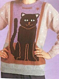 WOMENS , GIRLS CAT PICTURE KNIT JUMPER DK Knitting Pattern ...