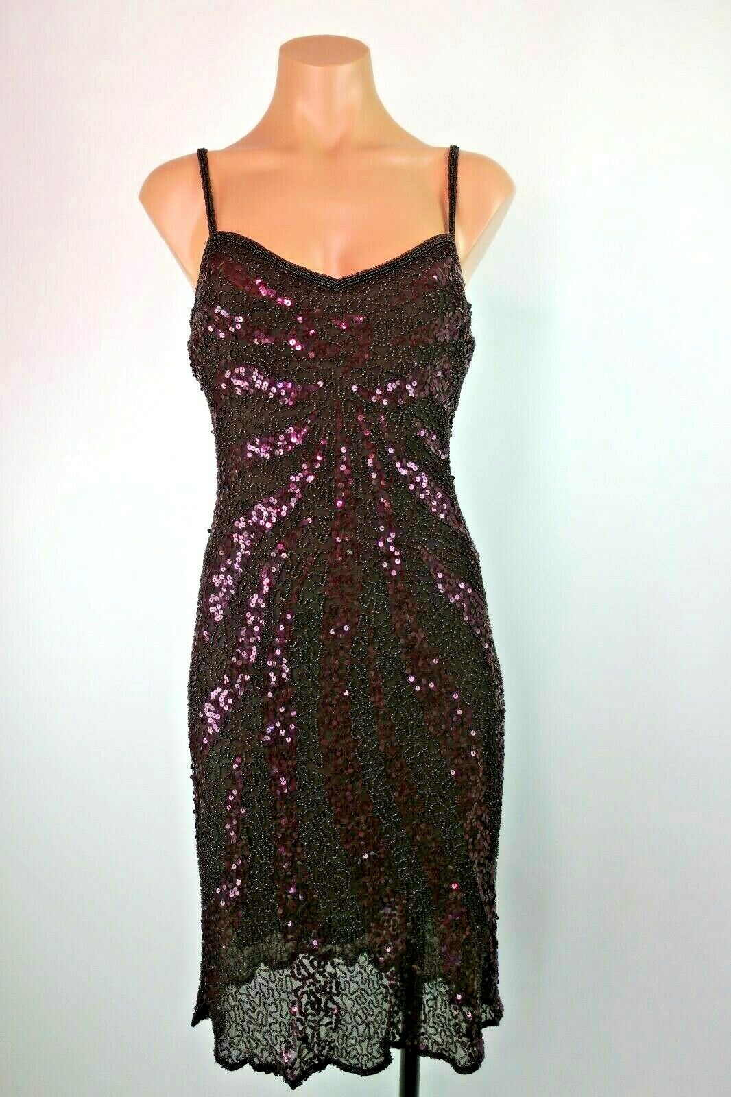VTG PAPELL Boutique Sequins Silk Evening Gown Dress lila Eggplant BodyCon Prom
