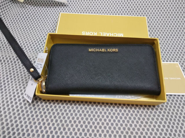 972b704cd976 Genuine Michael Kors Saffiano Leather Jet Set Travel Purse strap Wallet  black !