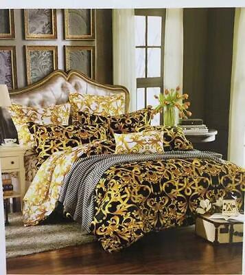 Bettwäschegarnituren Bettwaren, -wäsche & Matratzen 3 Tlg Bettwäsche Set Schwarz Mäander Medusa 140x200 Baumwolle Bettbezug Versac Elegante Form