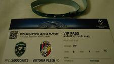 VIP Pass TICKET UEFA CL 2016/17 Ludogorets Rasgrad - Viktoria Pilsen