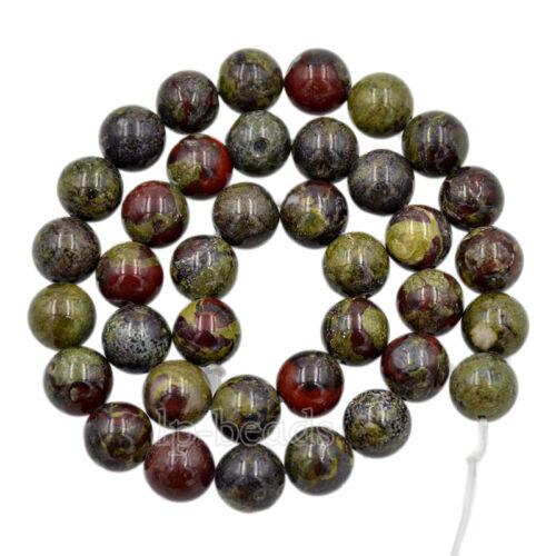 """Naturel Dragon Jaspe sanguin Gemstone Round Spacer Beads 15.5/"""" 4 mm 6 mm 8 mm 10 mm"""