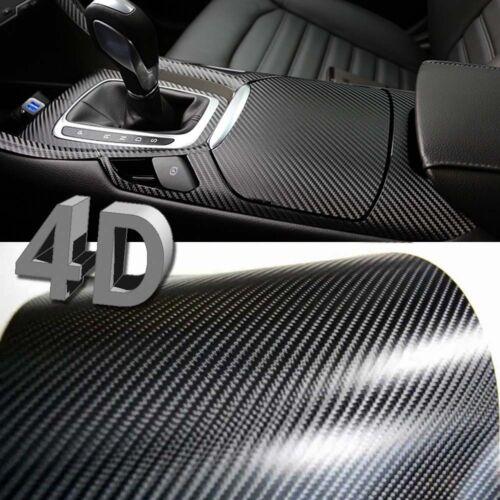 60x152cm Black Gloss 4D Carbon Fibre Vinyl Wrap High Quality Bubble Free 3M Glue