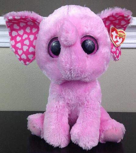 "Ty Beanie Boos Sugar Pink Elephant Valentines Day Hearts Medium 9/"" Retired Plush"
