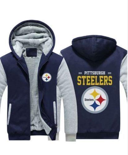 Pittsburgh Steelers Hoodie Winter Zipper Coat Fleece Thicken Sweatshirts Jacket