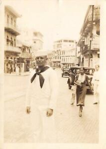 PANAMA-CITY-Sailor-Street-Scene-Old-Cars-Small-Photo-1934-Vintage-Photograph