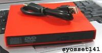 External Usb Red Cd Burner Dvd Rom Player Drive For Gateway Lt Netbook Computer