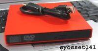 External Usb Red Cd Burner Dvd Rom Player Drive For Gateway Lt Netbook Computer