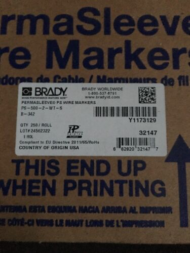 New Brady PS-500-2-WT-S Permasleeve PS Wire Markers B-342 250//Roll