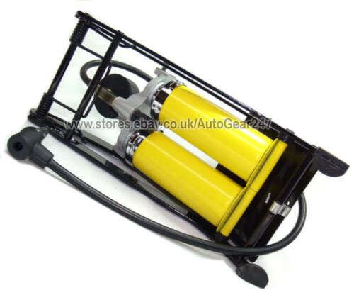 Hi Performance Double Piston Twin Barrel Car Motor Bike Van Cycle Foot Pump