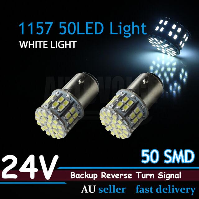 Pair 24v 1157 Bay15d 1206 Smd 50 Led Car Xenon White Tail Brake Stop Light Bulbs