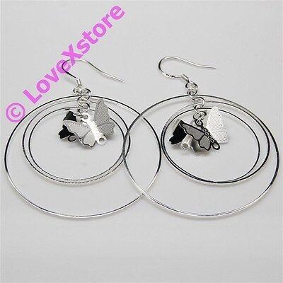 925 Sterling Silver Plated Butterfly-2 Earring Dangle Earrings Free Shipping e