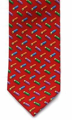 Shotgun Cartridge Silk Tie Red Pattern Design Game Shooting Gift CLEARANCE