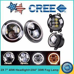 """Cree 4/"""" LED Fog Light Spot Lamp Kit for Jeep Wrangler JK LJ TJ 7/"""" LED Headlight"""