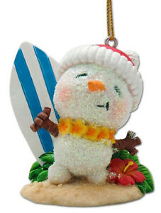 image is loading hawaiian christmas ornaments surfer snowman santa surfboard poly