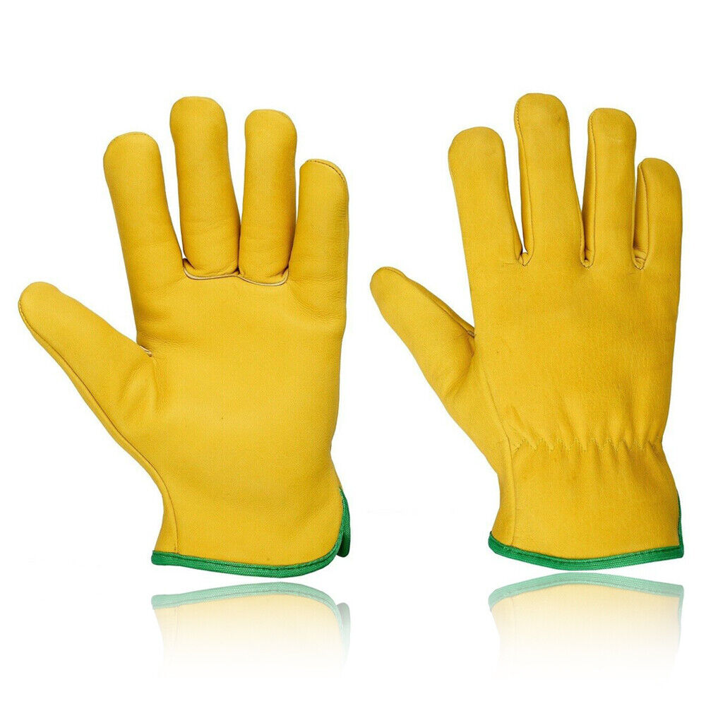 1 PAIR OF FLEECE LINED LEATHER LORRY DRIVERS WORK WINTER GLOVES DIY TOOLS