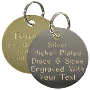Pet-Cat-Dog-ID-Tag-Brass-and-Silver-Collar-Name-Disc-Engraved-Round-Large-Small
