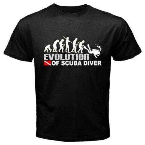 Evolution of Scuba Diver DIVE DOWN Drapeau PLONGEE Drôle T-shirt noir U1