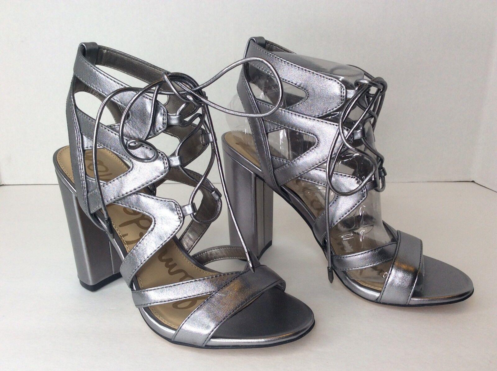Sam Edelman Yardley Sz 6 Metallic Silver Leder Strappy Sandales Heels Schuhes
