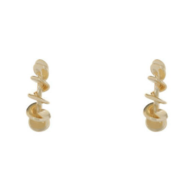 NEW Wayne Cooper Large Metal Spiral Hoop Earrings WCGE18ER107 Two Tone