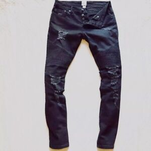 how to buy store amazing selection Stampd + GAP⚡️GQ Men faded distressed ripped black moto biker ...