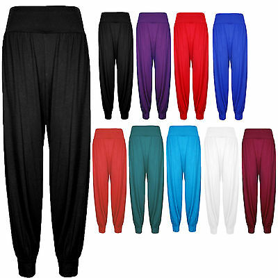 Ladies High Waisted Ruched Ali Baba Harem Pants Trousers Baggy Lagenlook