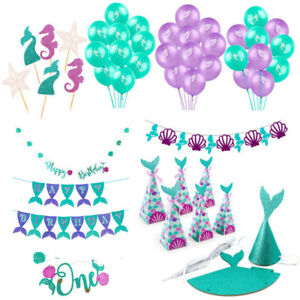 Mermaid-Paper-Banner-Latex-Balloons-Baby-Shower-Birthday-Party-Decor-Supplies