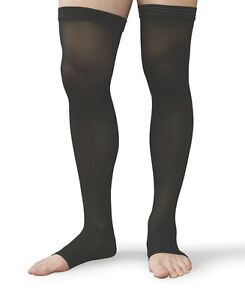 813d1b5fc89 Thigh High Compression Stockings 30-40 Beige Black ALL SIZES Open or ...