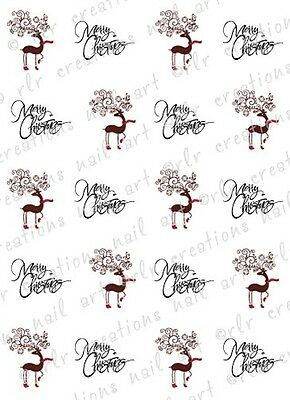 20 NAIL DECALS * MERRY REINDEER * ASSORTED WATER SLIDE NAIL DECALS