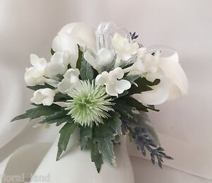 Silk wedding wrist corsage roses thistle flowers bridal white pearl image is loading silk wedding wrist corsage roses thistle flowers bridal mightylinksfo