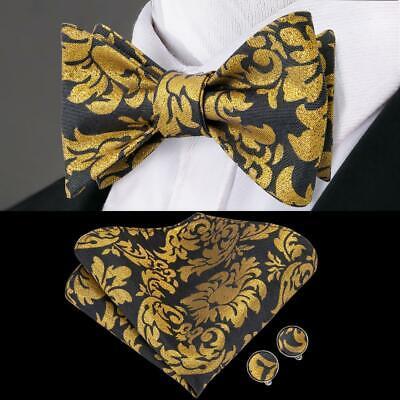 Blue Gold Paisley Self Bow Tie Classic Mens Silk Necktie Bowtie Set Party USA
