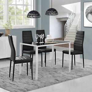Détails sur À Manger + 4 Chaises Noir/Blanc Table de Cuisine Salle à Verre