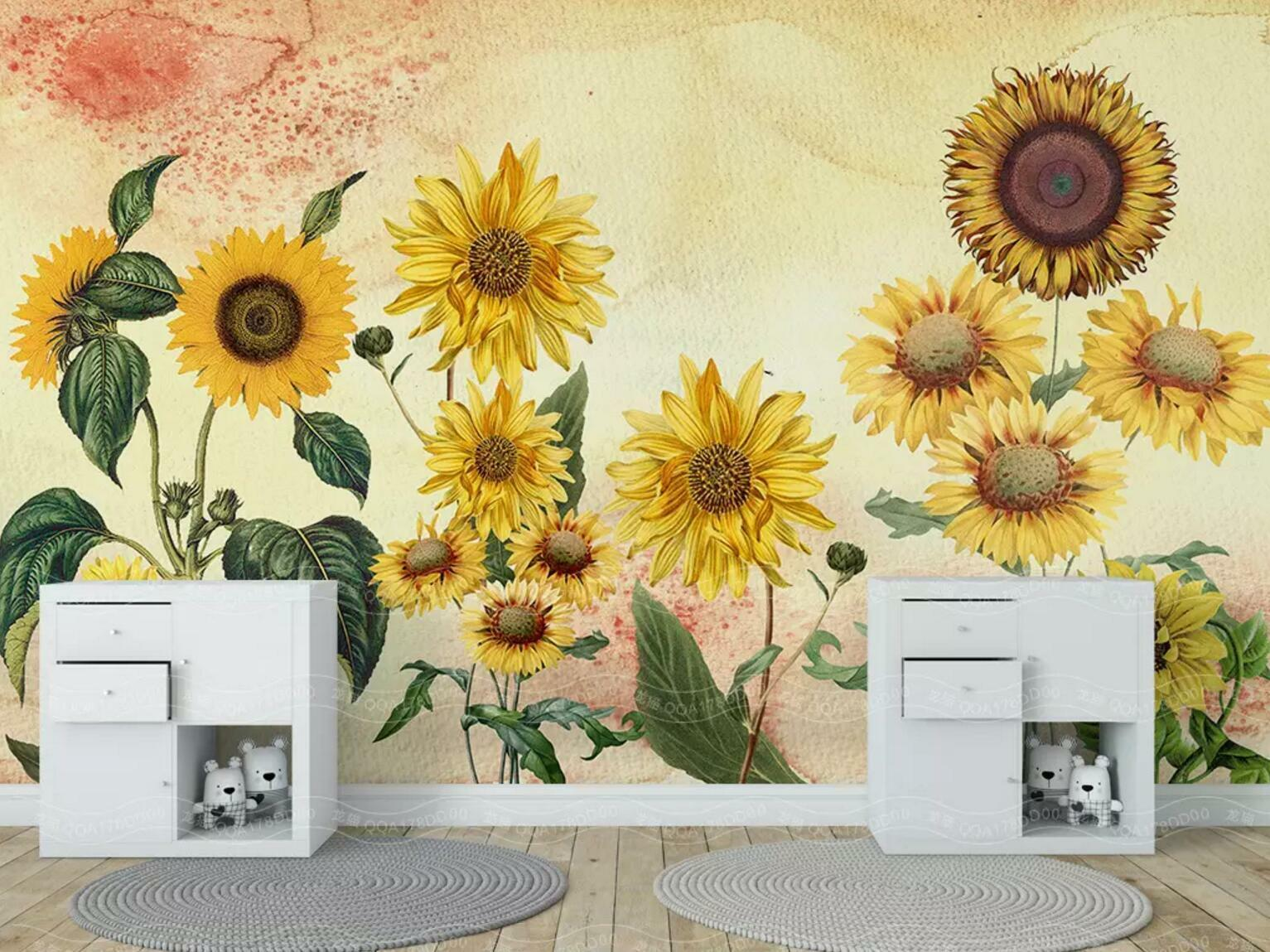 3D Sunflower 9636 Wall Paper Exclusive MXY Wallpaper Mural Decal Indoor Wall AJ