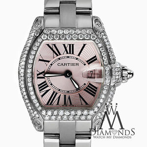 Image is loading Diamond-Cartier-Roadster-Pink-Dial -Stainless-Steel-Bracelet- fc8834967