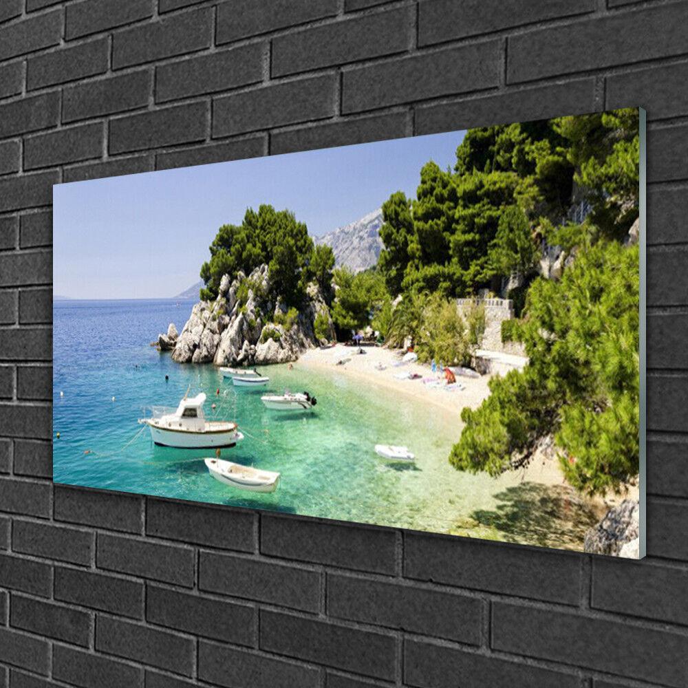 Image sur verre Tableau Impression 100x50 Paysage Mer Rochers Plage Bateau