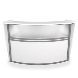 Awesome Details About Contemporary Reception Desk In White Finish With Plexi Glass And Silver Frame Home Interior And Landscaping Elinuenasavecom