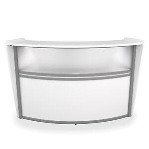 Contemporary Reception Desk In White Finish With Plexi