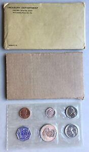 USA-1956-Proof-Set-Philadelphia-in-Umschlag-Silber-PP-polierte-Platte-1c-50c