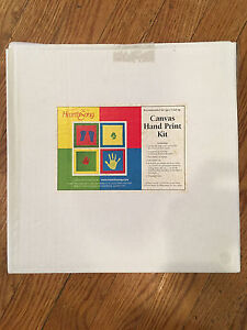 NIB Hearthsong Canvas Hand Print Kit 4 Square Multi-Color w/Paint Brushes Labels