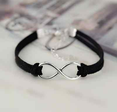 New Handmade Silver Plated Infinity Lucky Friendship Leather Bracelet Bangle