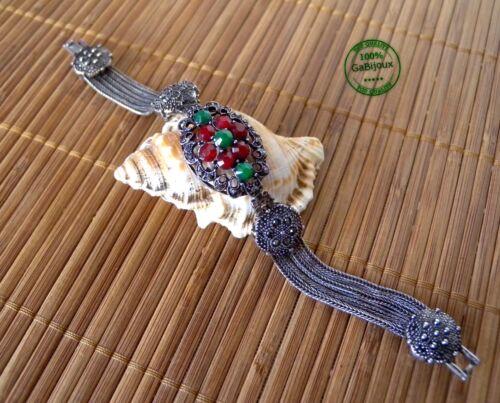 Bracciale Filigranato Vintage Donna Elegante da Sera color Argento Verdone Glam