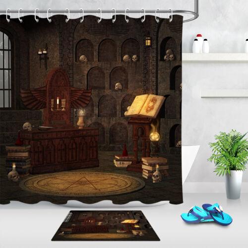 Vintage Wizard Room Skull Witchcraft Shower Curtain Hook Waterproof Bathroom Mat