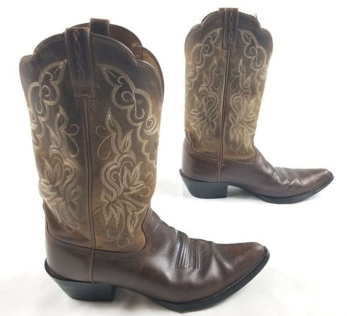 Ariat Brown Distressed Leather Heritage Western J-Toe 10009514 Women's Boots 9B