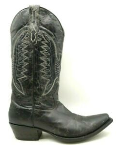 Johnny-Ringo-Black-Distressed-Lizard-Print-Inlay-Eagle-Cowboy-Boots-Women-039-s-10-B