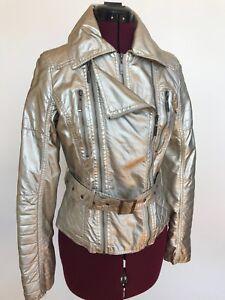 Moto-Jacket-Metallic-Golden-Champaign-Faux-Leather-Forever-21-Women-039-s-Junior-M
