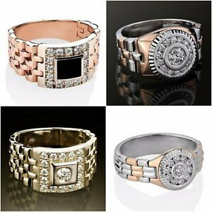 Fashion-925-Silver-amp-Rose-Topaz-Watchband-Ring-Wedding-Men-039-s-Jewelry-Size-6-12